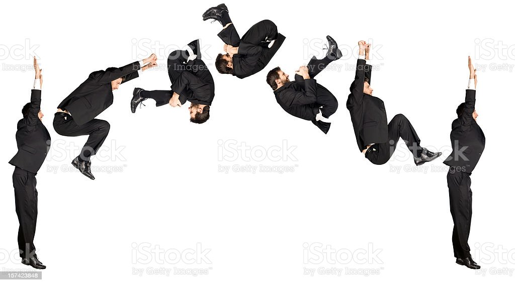business man somersault isolated on white stock photo