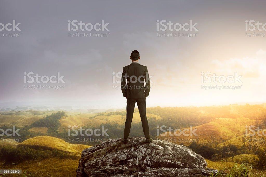 Hombre de negocios de pie en la cima de la montaña - foto de stock
