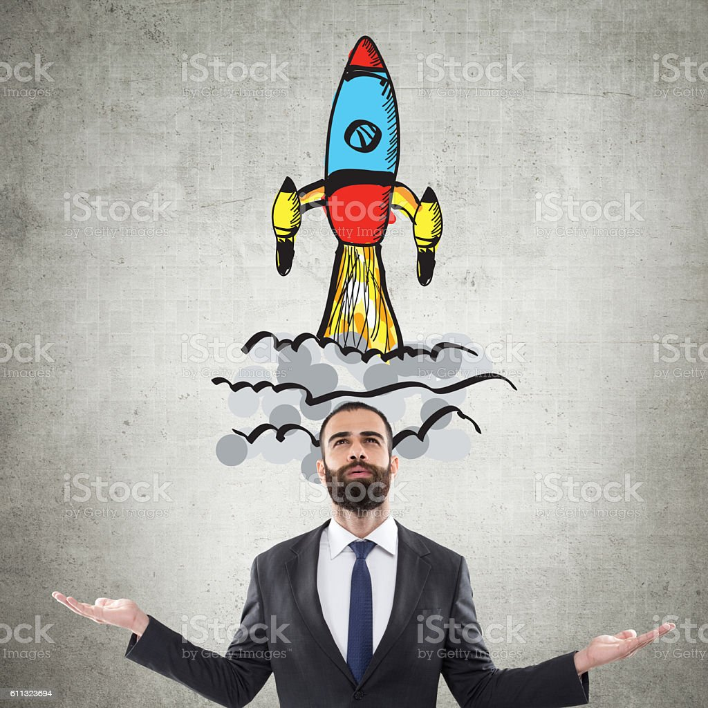 Business man startup launch stock photo
