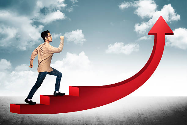 business man step on red arrow - ladder of success stock photos and pictures