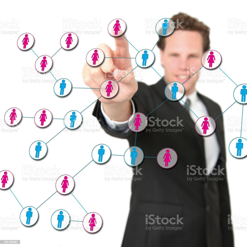 Business man taking care of his online contact network royalty-free stock photo