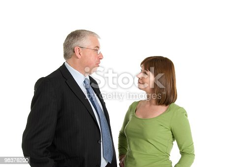 Business Man Talking To Woman Stock Photo & More Pictures of 40-44 Years