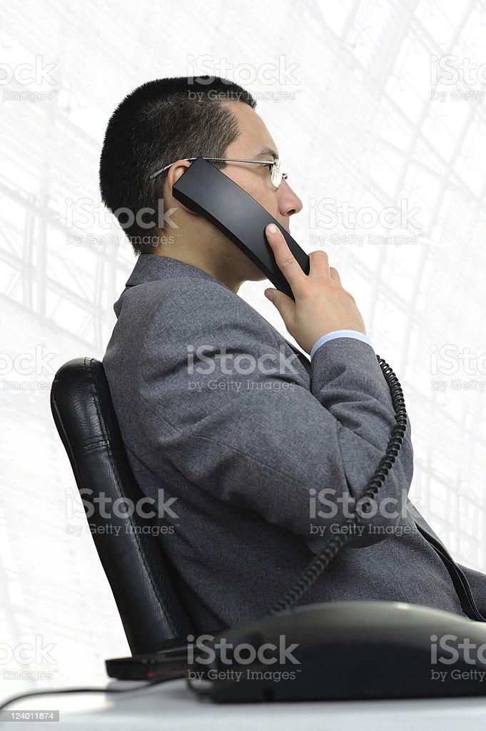 Business Man Telephone Communication Office Sideways
