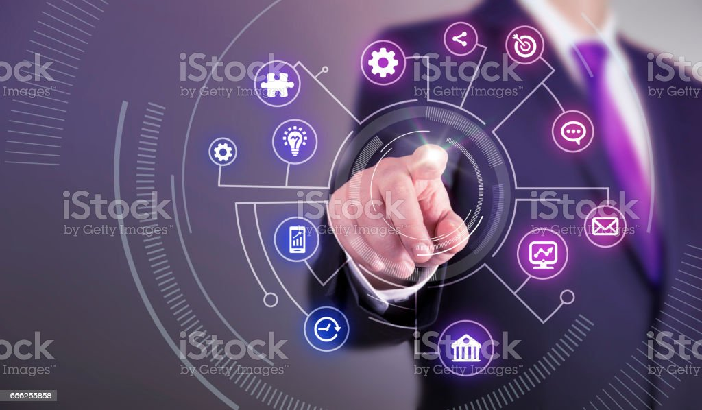 Business man touch screen concept - Business Symbols stock photo