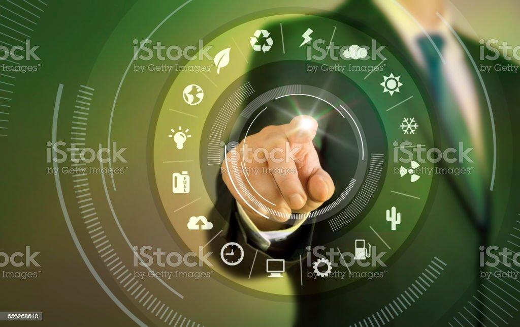Business man touch screen concept - Environmentally stock photo