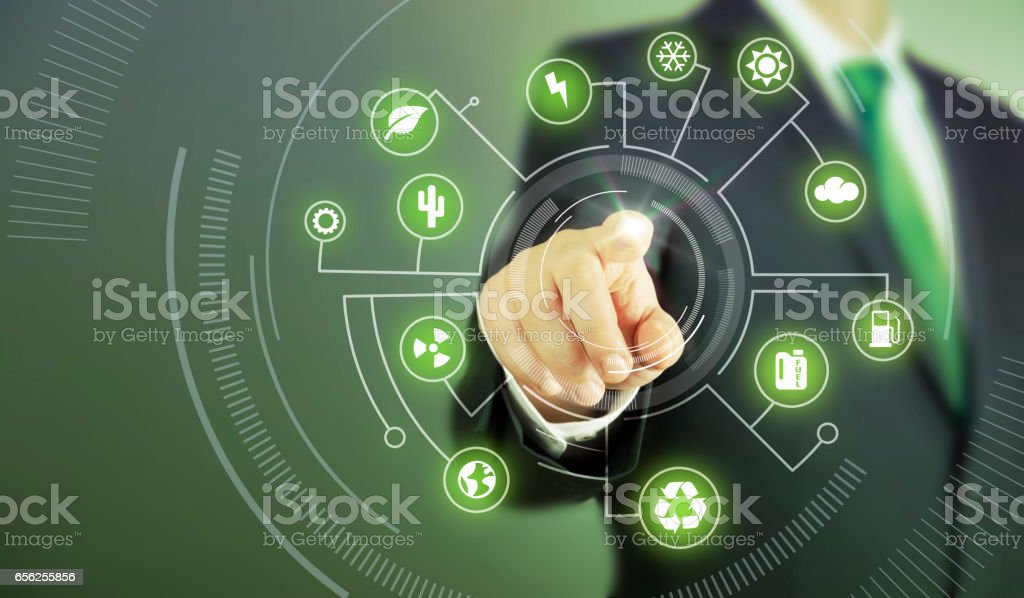 Business man touch screen concept - Green stock photo