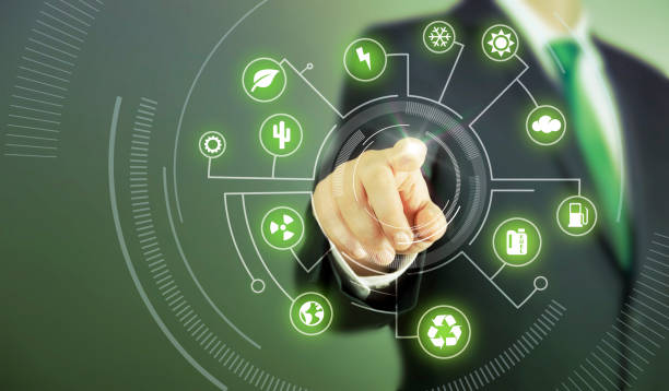 business man touch screen concept - green - ecosystem stock photos and pictures