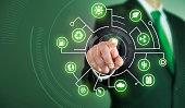 Business man touch screen concept - Green
