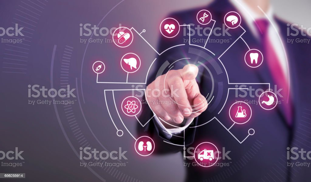 Business man touch screen concept - Medical stock photo