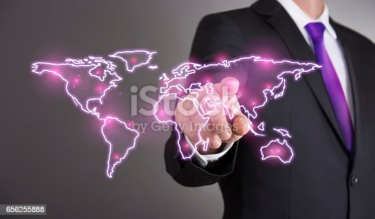 823686896 istock photo Business man touch screen concept - World 656255888