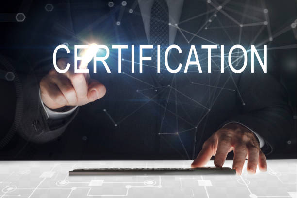 "business man touching screen with ""certification"" writing - certificate stock photos and pictures"