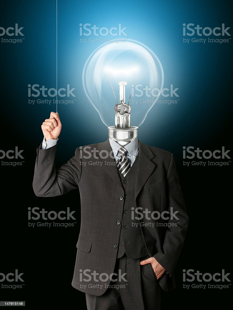 business man turn on his bulb head royalty-free stock photo