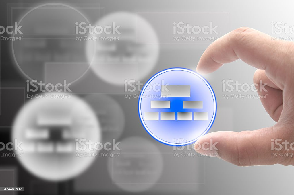 business man use hand select new structure organization for future stock photo