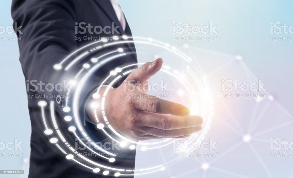 business man use wireless tecnology, Wireless technology concept. royalty-free stock photo