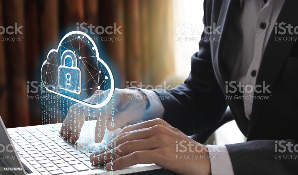 Business man using a computer stock photo