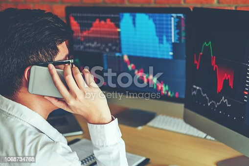istock Business Man Using Mobile phone Investment discussing and analysis graph stock market trading,stock chart concept 1068734768