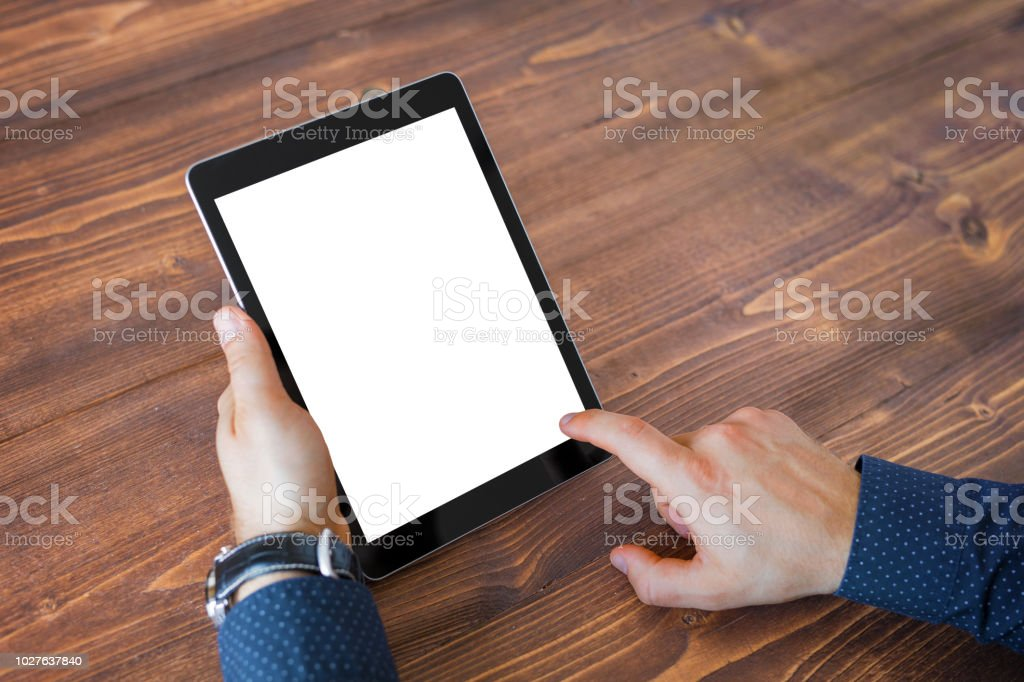 Business man using tablet computer. Tablet horizontal screen mockup. stock photo