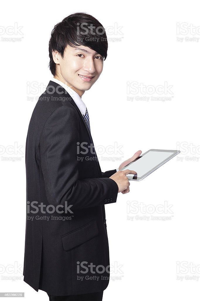 business man using touch pad stock photo