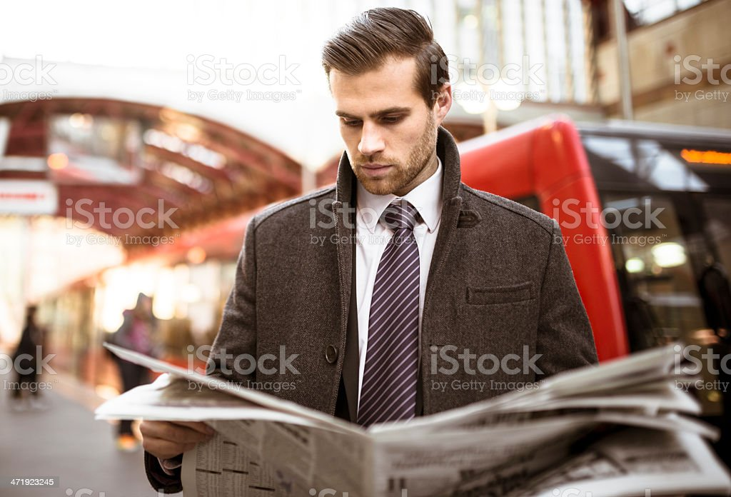 Business man waiting the train on railway station stock photo