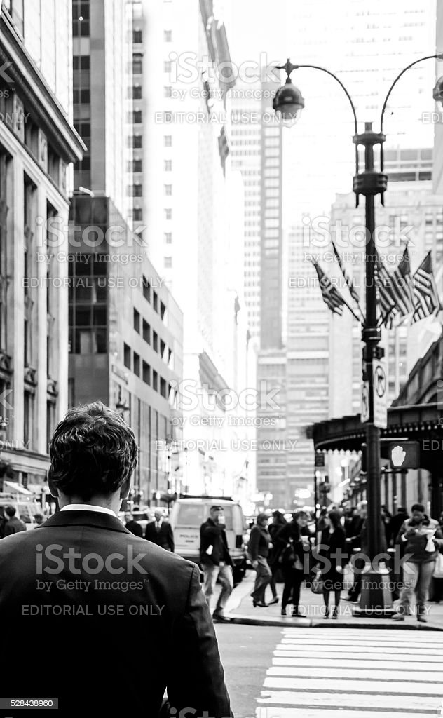 Business man walking down the street in New York stock photo