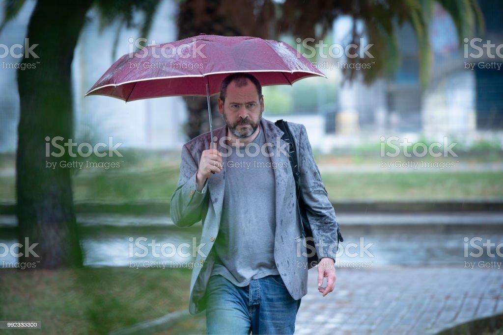 Business Man Walking Under The Rain