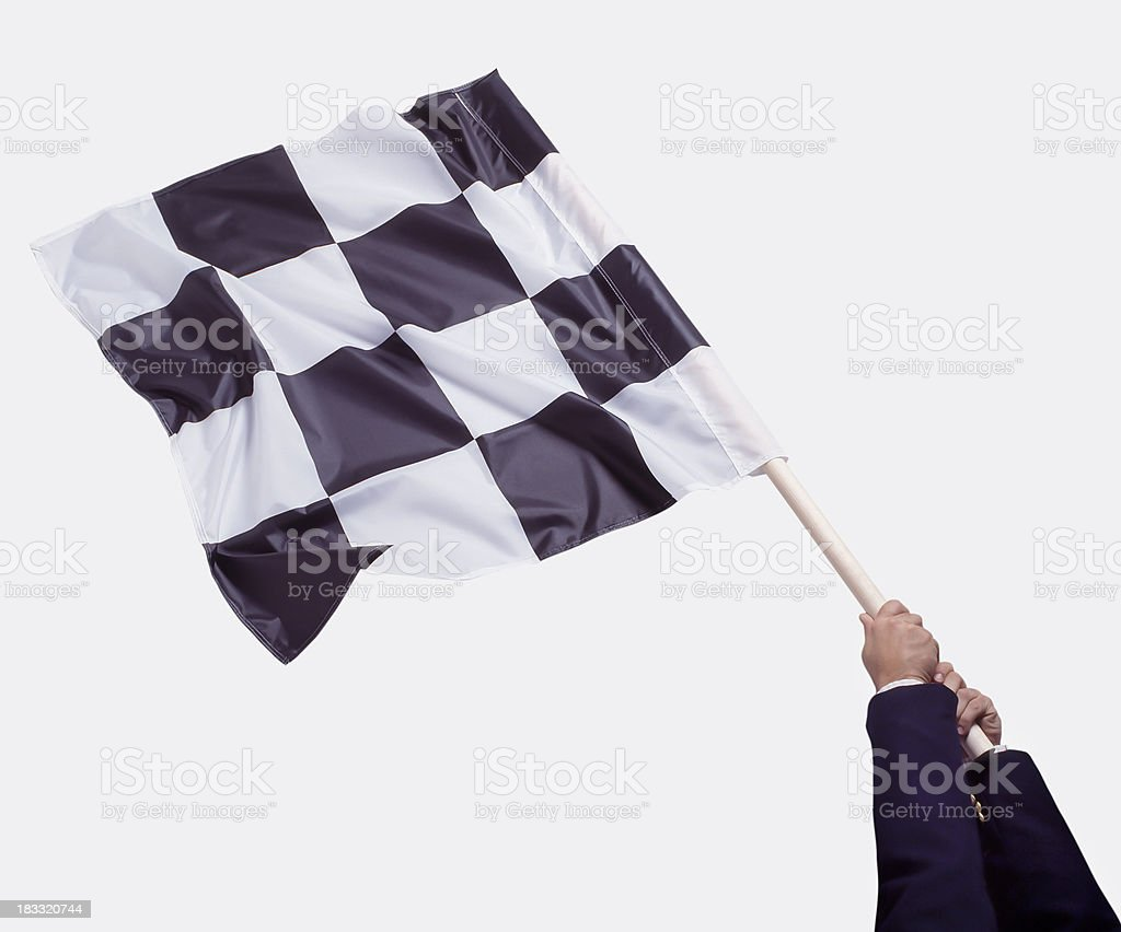 Business Man waving Checkered Flag stock photo