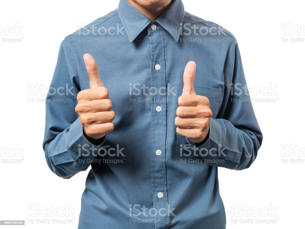 Business man winner with blue shirt. - Royalty-free Achievement Stock Photo