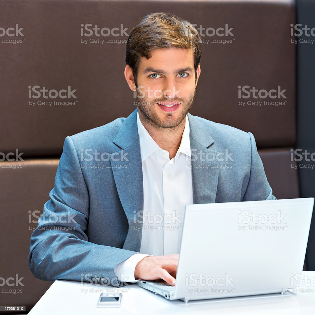 Business man with a laptop royalty-free stock photo