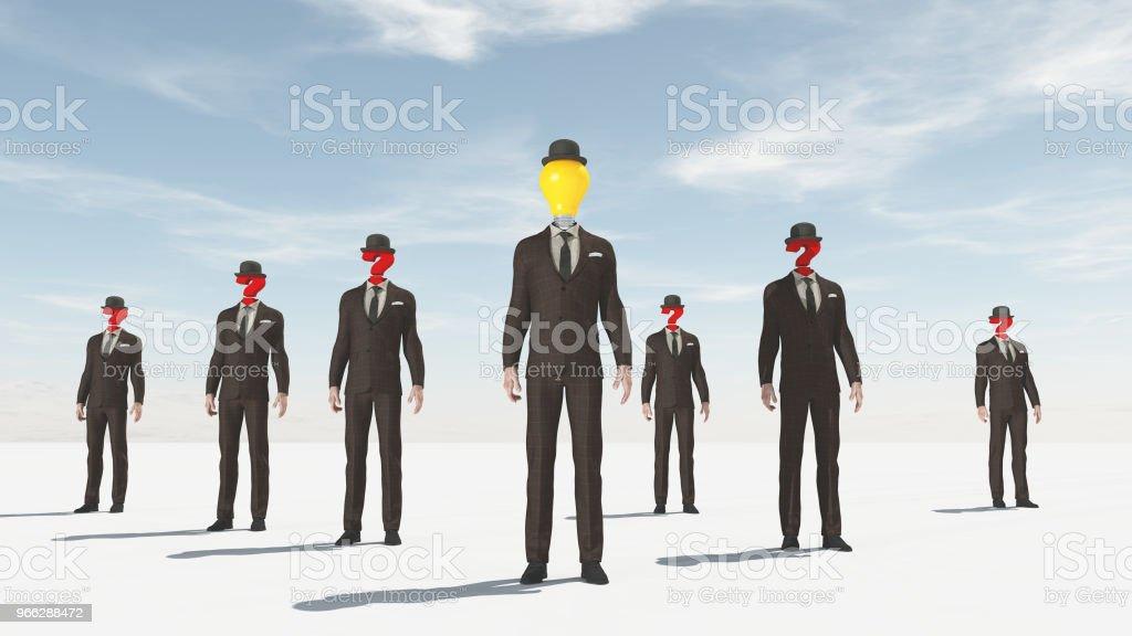 Hombre de negocios con un signo de interrogación en lugar de cabeza sugesting confusión. - foto de stock