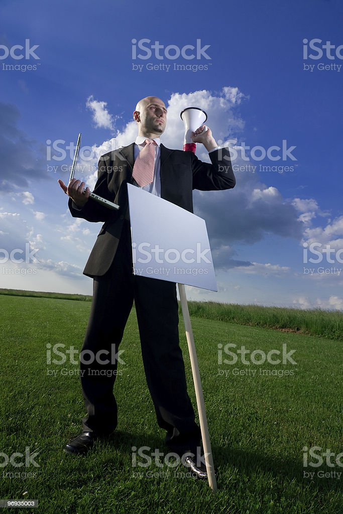 Business Man with a Sign royalty-free stock photo