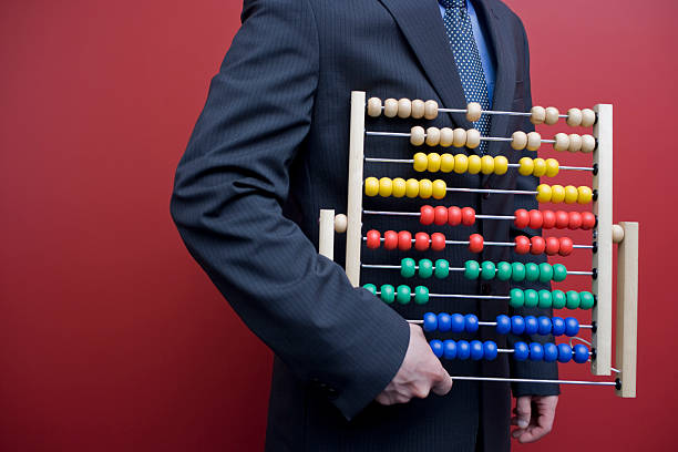 business man with an abacus - abakus bildbanksfoton och bilder