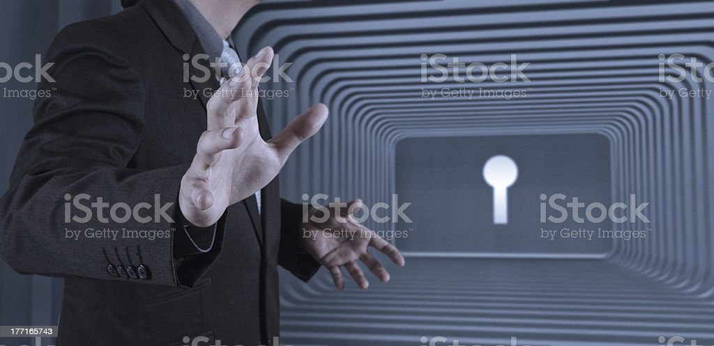 business man with an open hand as showing something royalty-free stock photo