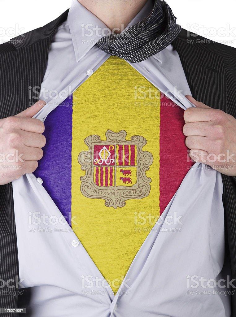 Business man with Andorran flag t-shirt stock photo