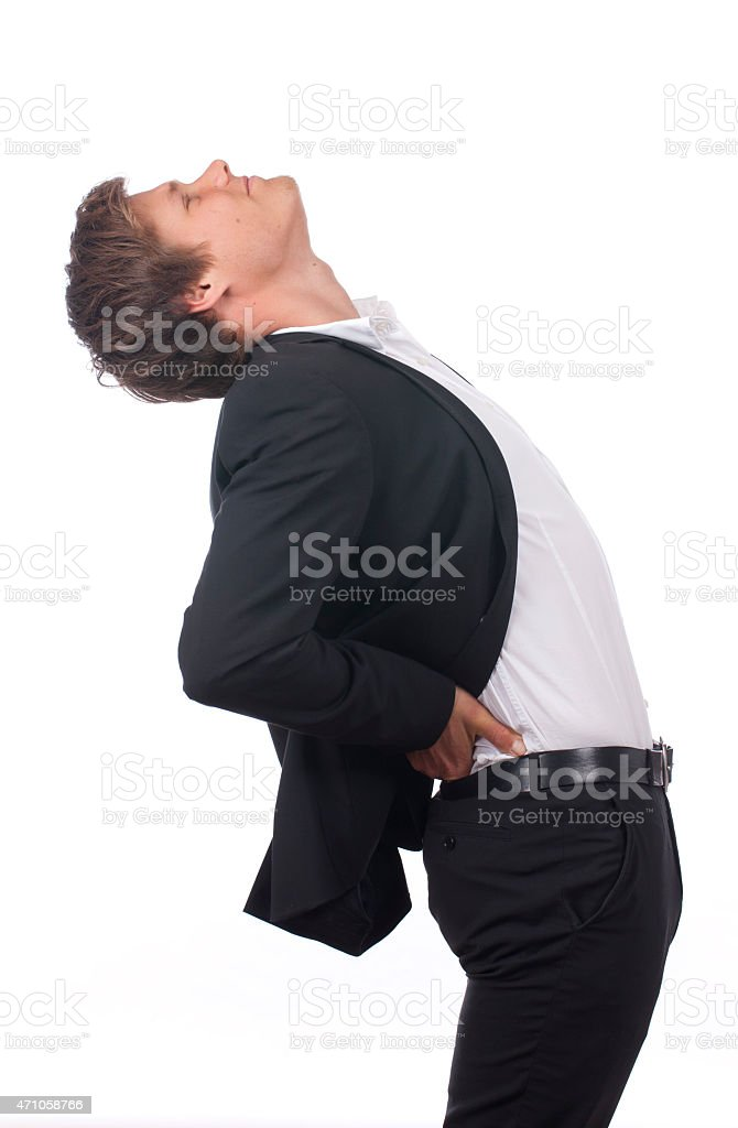 Business man with back pain stock photo