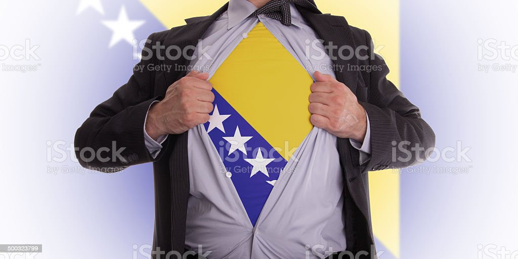 Business man with Bosnia and Herzegovina flag t-shirt stock photo