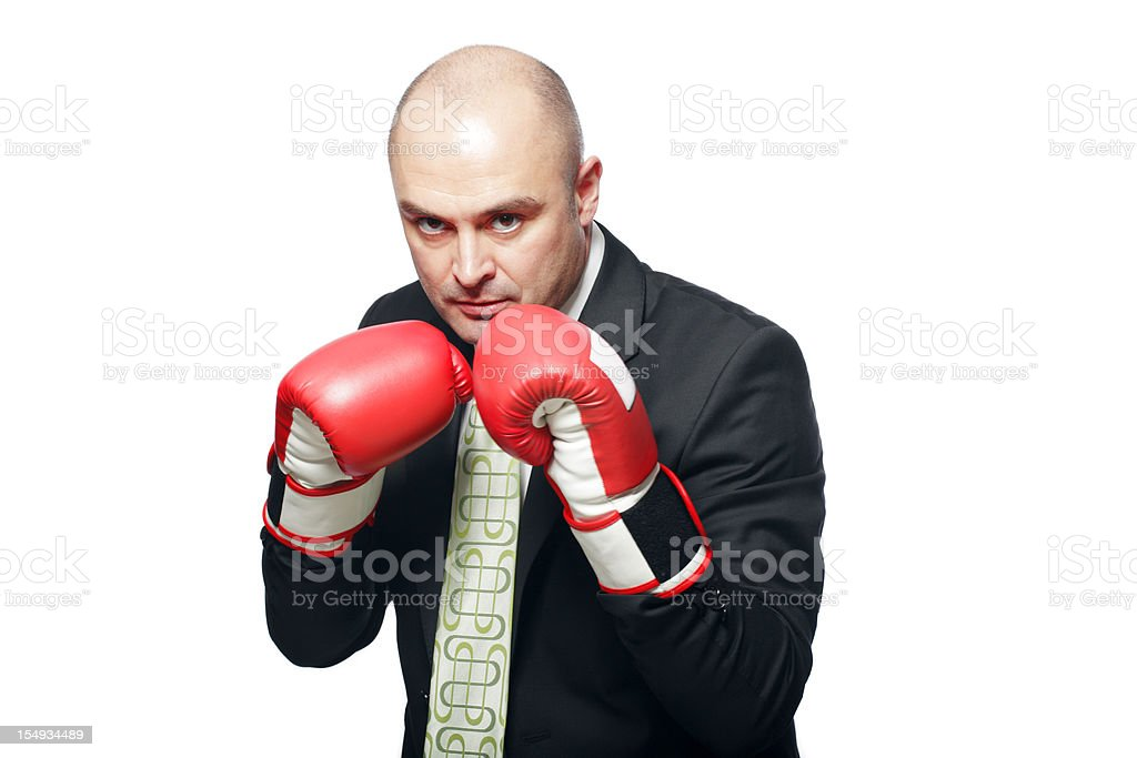 Business Man with Boxing Gloves royalty-free stock photo