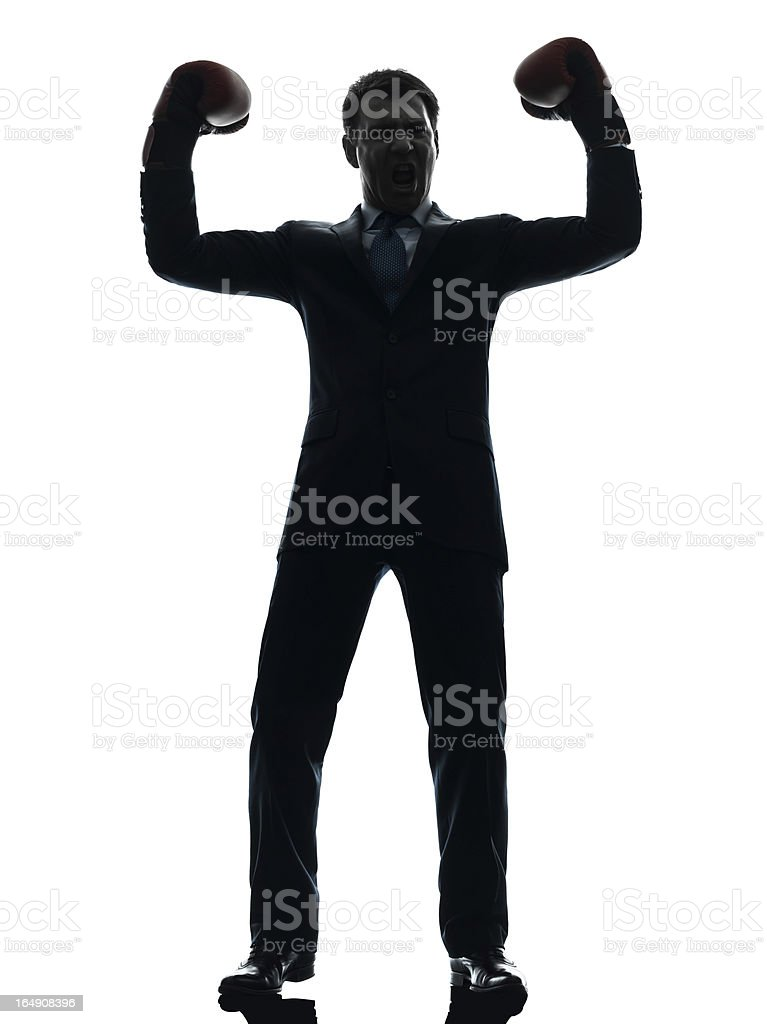 business man with boxing gloves silhouette royalty-free stock photo
