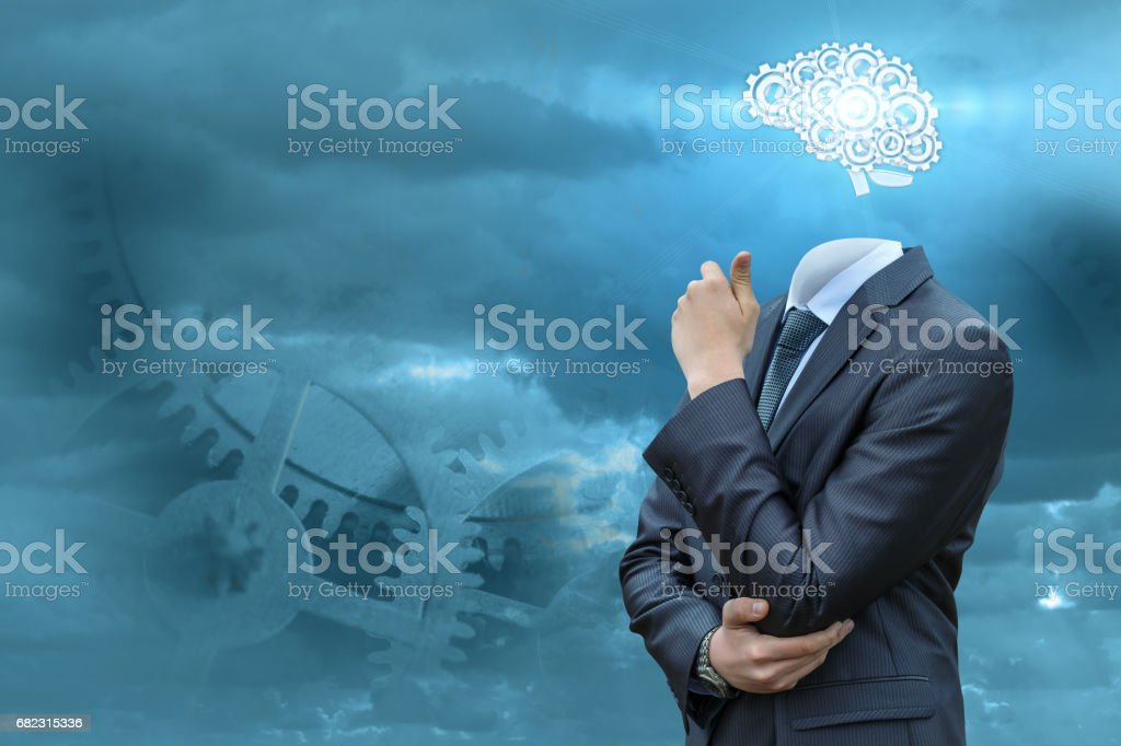 Business man with brains . stock photo