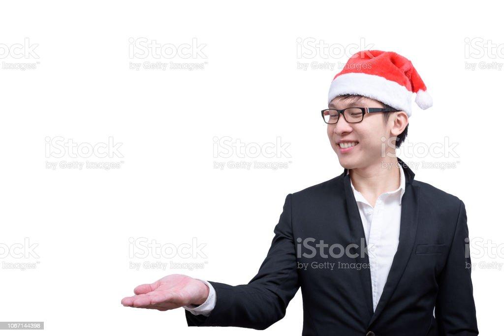Fotos De Hombres Felicitando La Navidad.Hombre De Negocios Con Temas De Fiesta De Navidad Aislado En