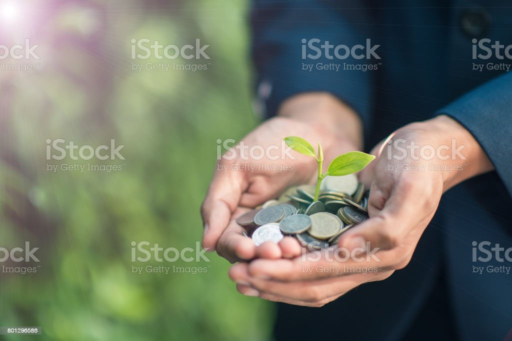 Business man with coins in hand stock photo