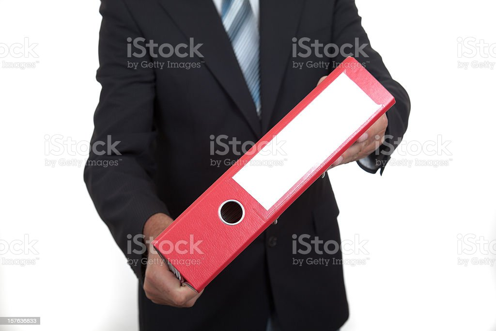 business man with file folder stock photo