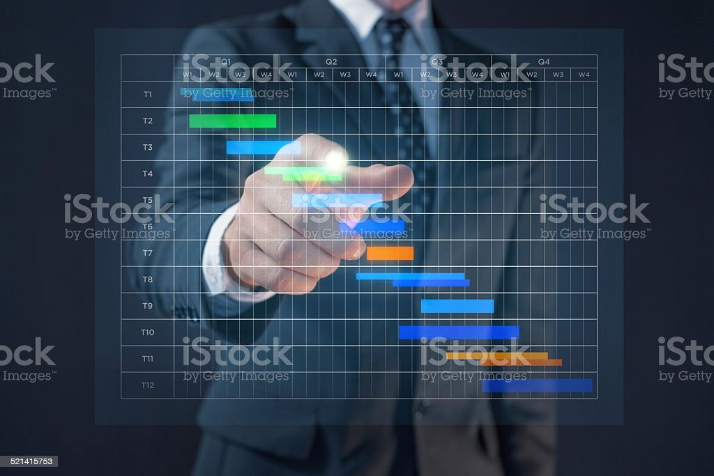 Business man with Gantt chart stock photo