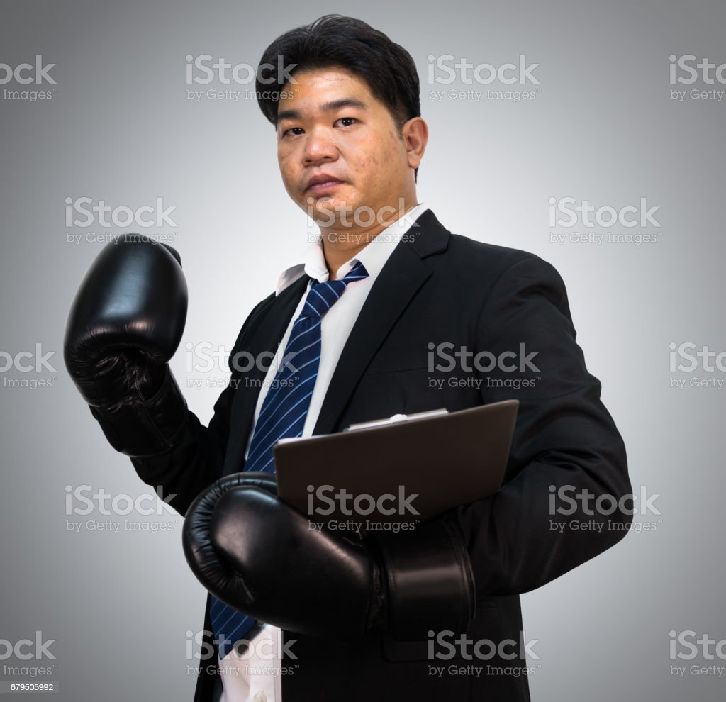 Business man with gloves royalty-free stock photo