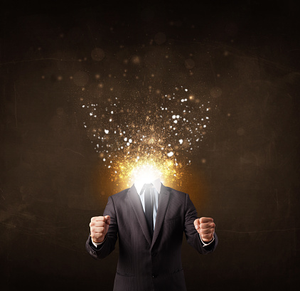 istock Business man with glowing exploding head 899389442