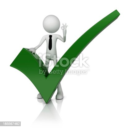 istock 3D business man with green check mark 185567462