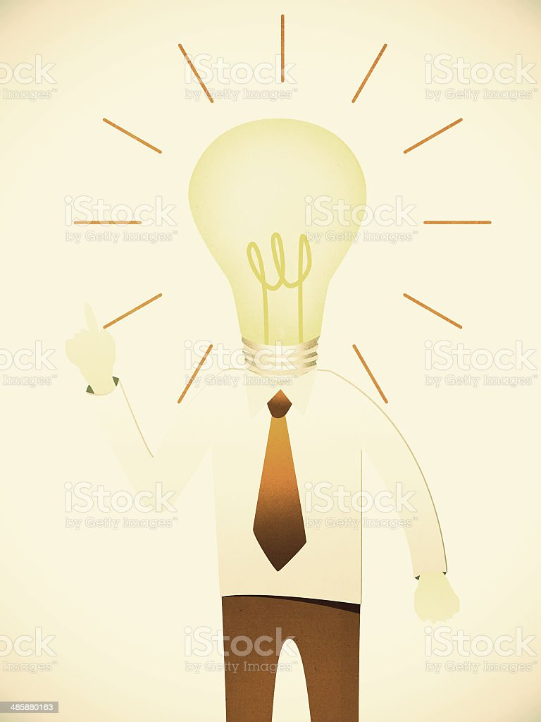 Business man with head idea lightbulb on paper background royalty-free stock photo