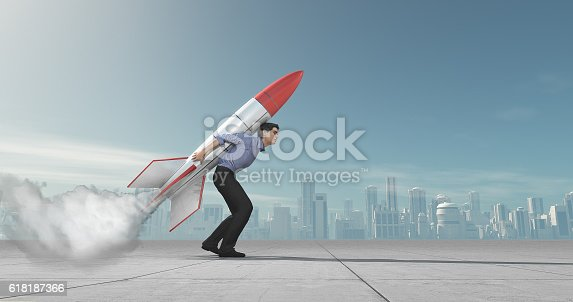 istock Business man with jet pack rocket 618187366