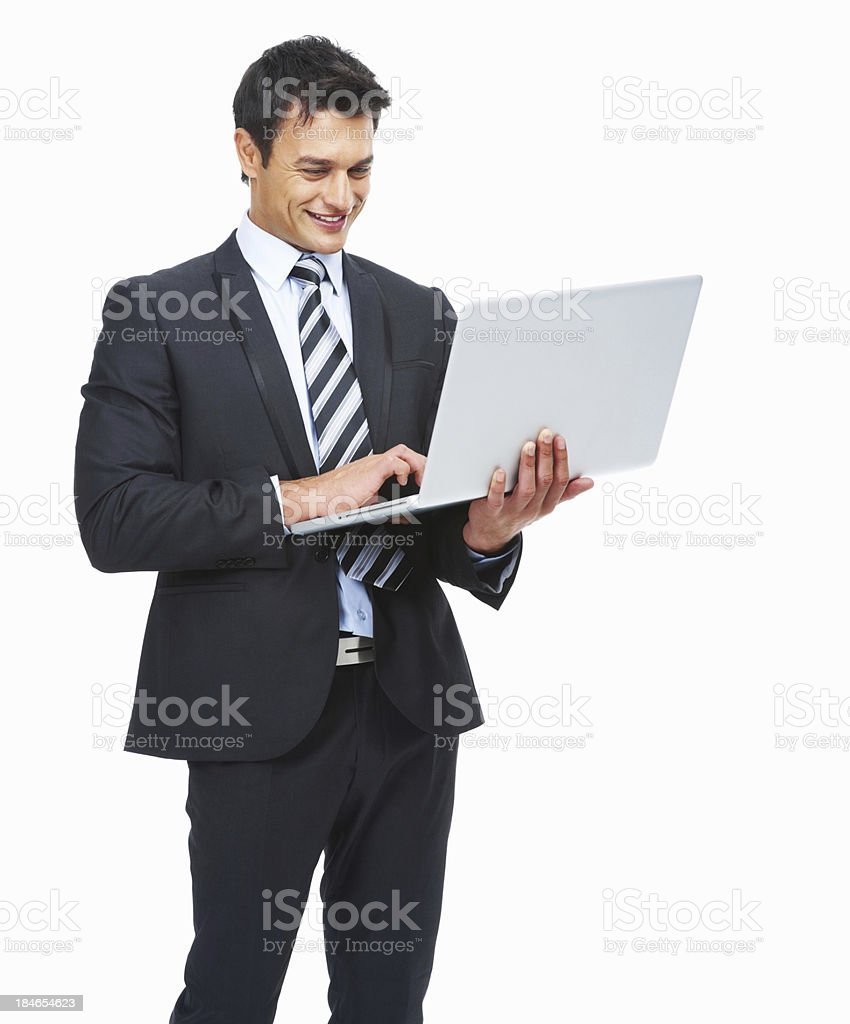 Business man with laptop smiling royalty-free stock photo