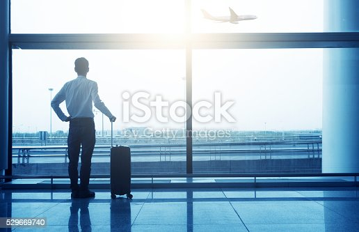 509630674 istock photo business man with luggage waiting in the airport 529669740