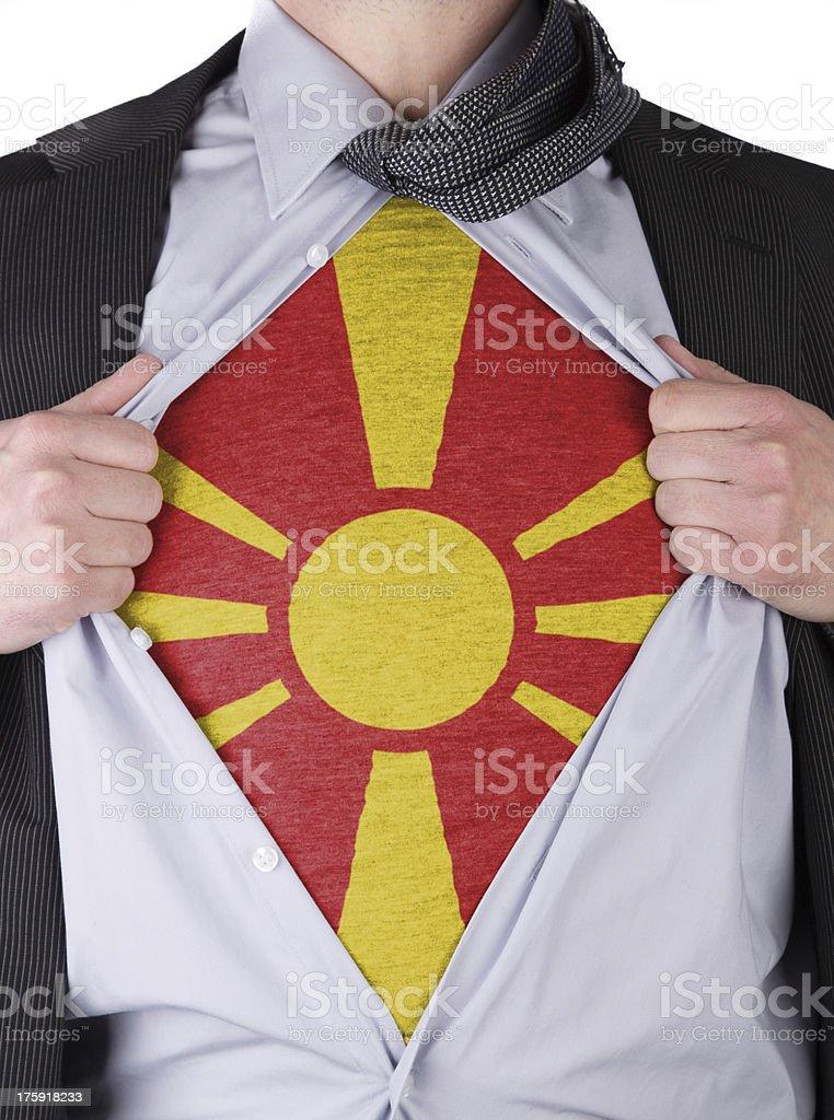 Business man with Macedonian flag t-shirt stock photo